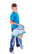Boy catching denim clothes