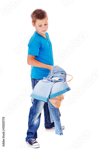 Boy catching denim clothes