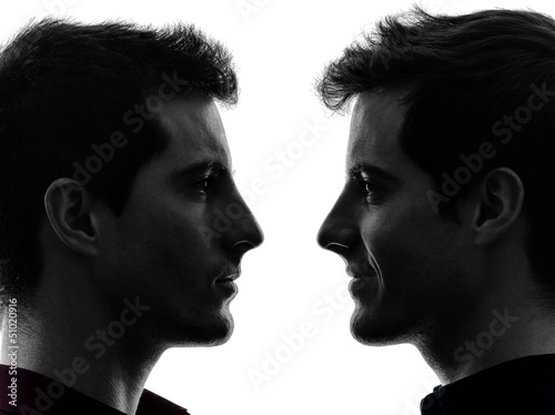 close up portrait two  men twin brother friends silhouette Poster