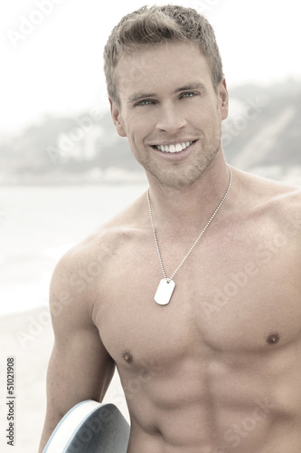 Man at beach with smile