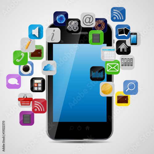 Universal design phone with apps icons vector illustration