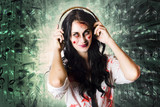 Gothic rock music girl wearing headphones