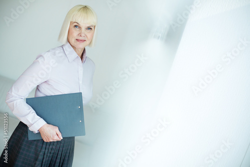 Woman with document