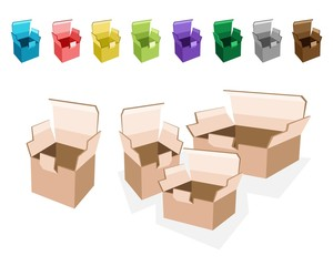 Colorful Illustration Set of Open Cardboard Boxes