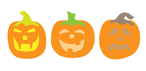 Three pumpkins concept.