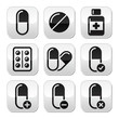 Pills, medication  vector buttons set