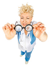 senior doctor looking at glasses