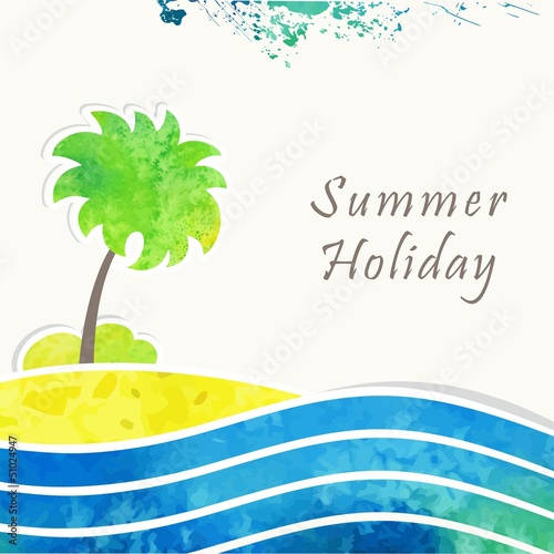 Seaside view poster. Vector watercolor background.