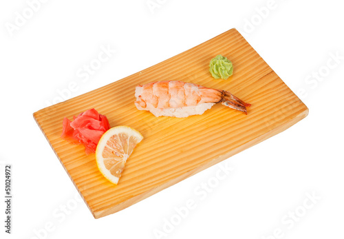 Sushi with shrimps isolated on white