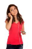 Teenage girl listen music