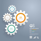Color Gears Infographics Number Options Banner & Card. Vector
