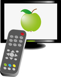 lcd tv with remote control, vector illustration
