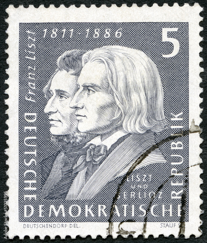 GERMANY - 1961: shows Franz Liszt (1811-1886) and Hector Berlioz