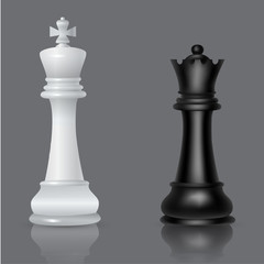 Chess queen and king