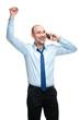 Closeup portrait of handsome businessman using cell phone, smili