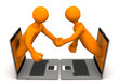 Manikins Laptops Handshake