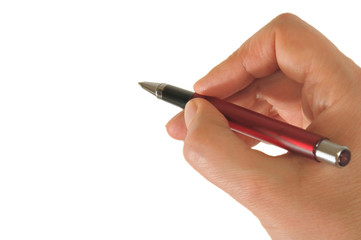 Hand holding a pen prepared to make a signature