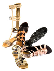 Roman sandals still life fashion composition