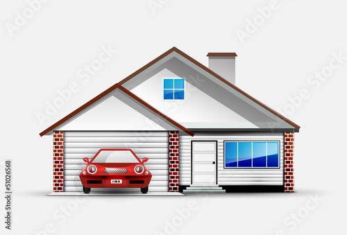 House and red sports car near garage
