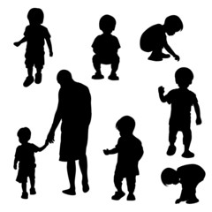 Silhouette children vector