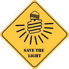 save the light yellow sign