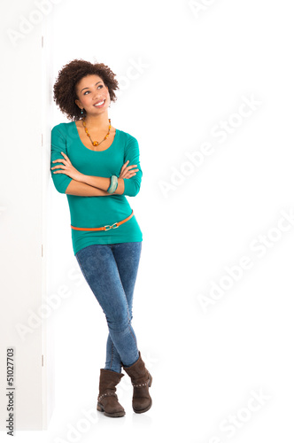 Thoughtful Woman Leaning On Wall