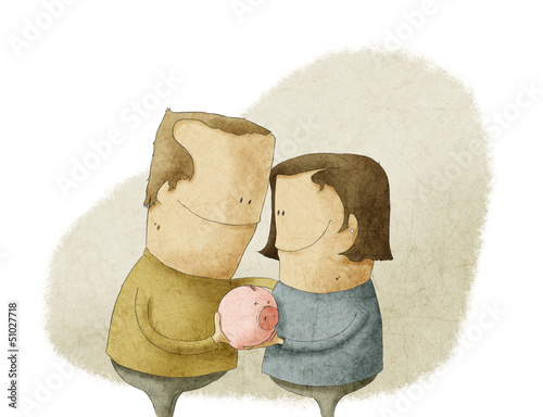 happy mature couple holding a piggy bank