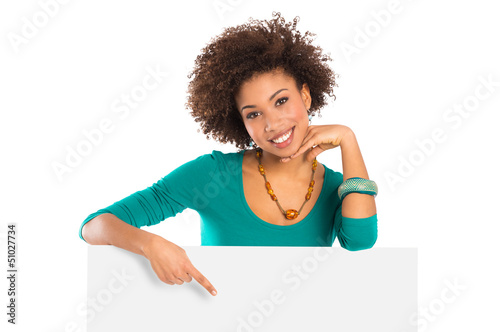 Woman Pointing On Billboard
