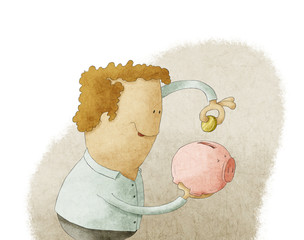 Young man putting coin into a piggy bank