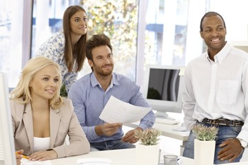 Happy business team working
