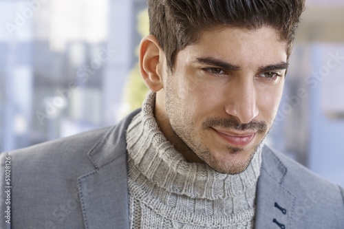 Closeup portrait of goodlooking young man