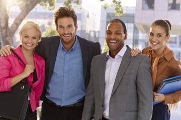 Portrait of happy businessteam outdoors