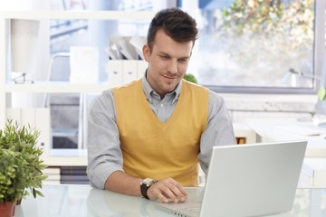 Young businessman working with laptop computer