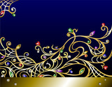Vector horizontal gold jewerly background with gems