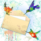 Vector card with grunge envelope and hummingbirds