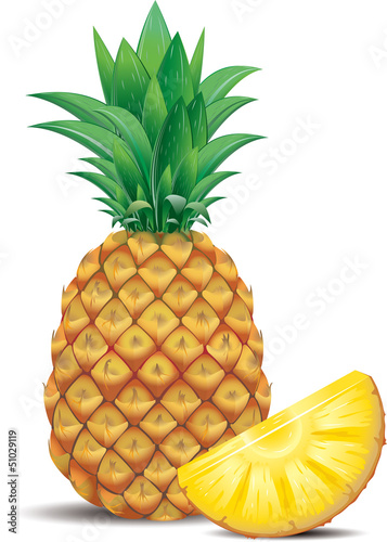 Fresh pineapple with slice