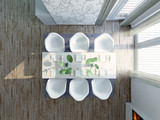 Modern, 	extravagant Dining Room, birdview penthouse poster