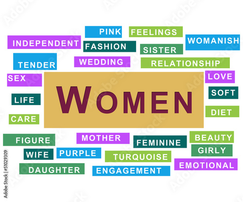 Women Colourful Tag Cloud