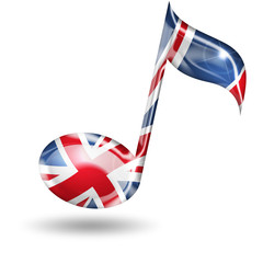 treble clef with english flag colors