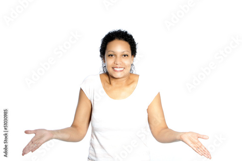 Woman shrugging her shoulders