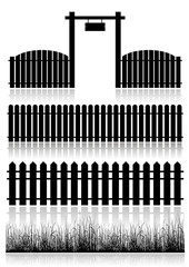 Set of Fences, Gate and Grass