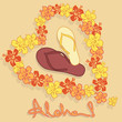Illustration of Hawaiian flower garland and flip flops