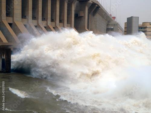 Leinwanddruck Bild Merowe Staudamm im Sudan, Ausfluss