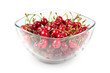 fruits of cherries in a glass bowl isolated on white background