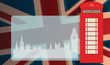 Phone booth and parliament on UK flag, vector illustration