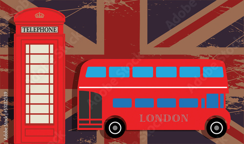 Phone booth and red bus on UK flag, vector illustration
