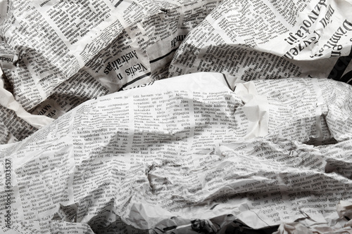Staande foto Kranten background of old crumpled newspapers