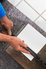 floor tiler at work