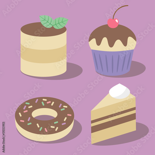 Set of vector cakes