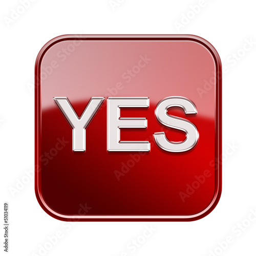 Yes icon glossy red, isolated on white background
